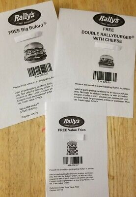RALLY'S Fast Food Coupons $31 Worth~ Big Buford, Double Rallyburger, Value Fries
