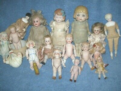 Antique Mignonette Doll Lot German Baby Rose Japan Miniature Bisque Wrestler !!!
