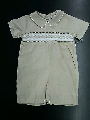 08cf27247 CARRIAGE BOUTIQUE BABY Boys Hand Smocked Shortall Romper