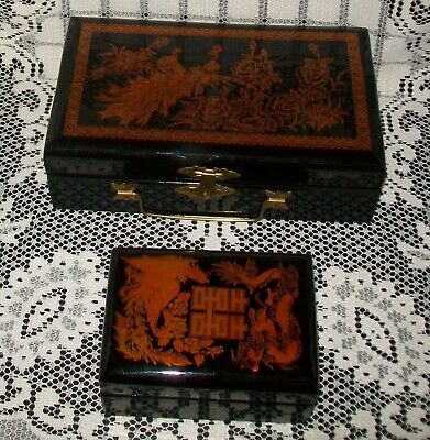 2 x VINTAGE BLACK / BRONZE LINED ASIAN DESIGN LACQUERED BOXES w/mirrors