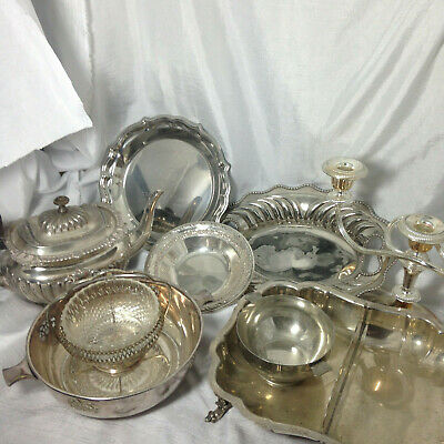Silver Plate Items Bowls Plates Etc Joblot