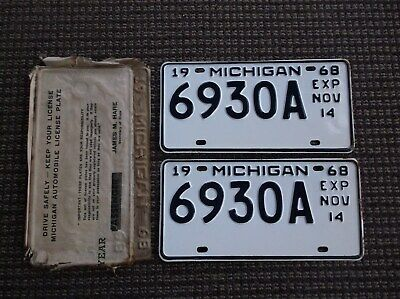 MICHIGAN  1968  License Plates