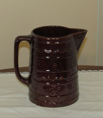 Marcrest Brown Daisy & Dot 8 inch Pitcher Very Nice!