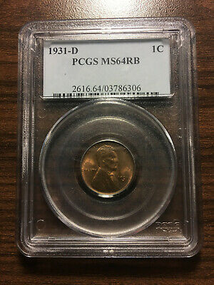 1931-D Lincoln Wheat Penny Cent 1C PCGS MS 64 Red Brown RB Type 1, Wheat Reverse