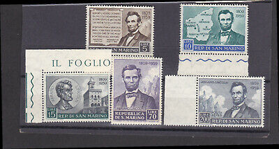 3 X San Marino Assorted Sets Roosewell,Abraham Lincoln,&1956 Winter Olympic Game