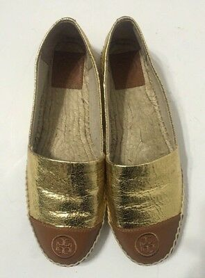 c33ff680415 Tory Burch Colorblock Cap Toe Espadrille Flat Shoes Slip On Gold Womens  Size 9