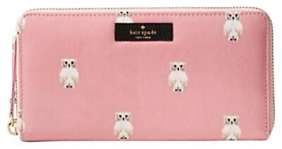 SALE Kate Spade Painterly Daycation Owl Pink Neda Zip Wallet $158 New