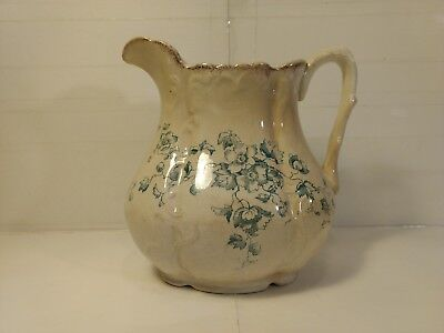 "Vintage 8"" Aurora Floral Pattern Porcelain Water Pitcher hd974"
