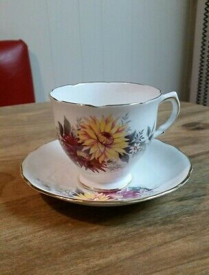 Royal Stafford Dahlia Fine Bone China Cup Saucer made in England