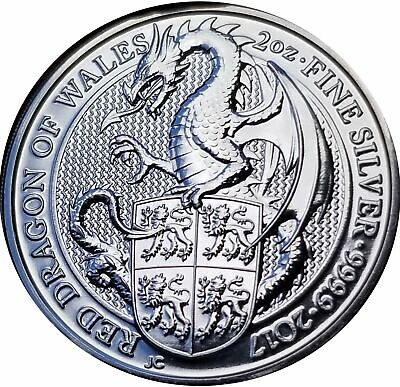 Great Britain 2017 Red Dragon of Wales 2 oz Silver Round D1