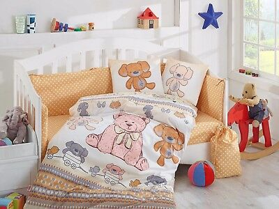 100% Cotton baby duvet / quilt cover cot sheet set 4 Piece girl and boy Cuddly