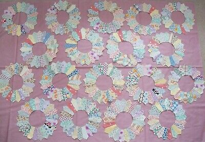 """18 Vintage Dresden Plate Quilt Blocks hand sewn feed sack 1930's fabric 11"""""""