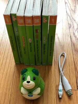 Leapfrog Tag Junior Leap Reader Scout Reader and lot of 7 books plus cord
