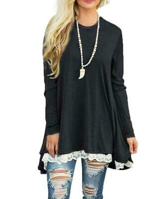 NEW Women's Lace Long Sleeve Tunic Top Blouse Shirt Black S-3XL