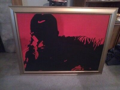 Tiger Woods Nike GAME FACE Silhouette 30X40 canvas 24K GOLD FRAME +$25 GIFTCARD
