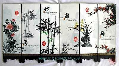 Chinese collection Lacquer ware painting four gentlemen folding screen  b02