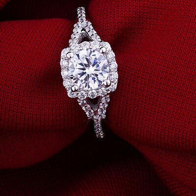 1.6 ct. AAA Cubic zirconia Engagement Christmas gift 925 Sterling Silver Ring