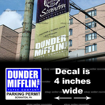 dunder mifflin the office parking permit decal sticker