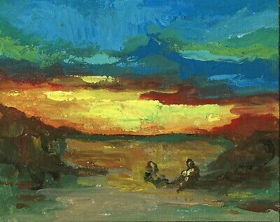 290. People on Farm Landscape Original Oil Painting Impressionist Art