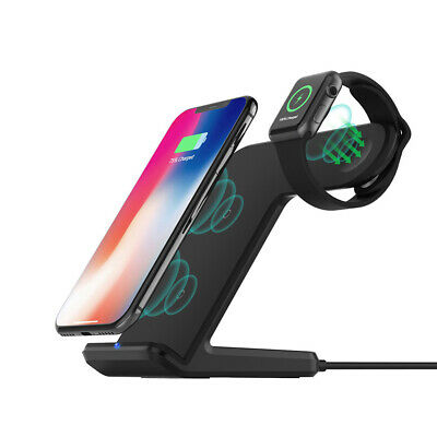 Qi Wireless Charger Fast Charging Station Stand Dock 2in1 For Apple Watch/iPhone