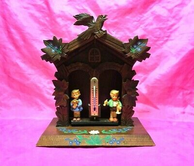Fine Antique Black Forest Carved Thermometer Stand, Detailed House & Bird - L@@K