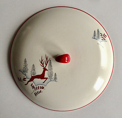 CROWN DEVON Fieldings STOCKHOLM Red Leaping Deer Stag Tureen Soup Pot LID ONLY