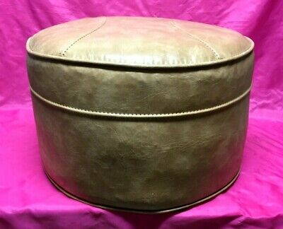 Wondrous Vintage Mid Century Round Ottoman Hassock Foot Stool Gold Caraccident5 Cool Chair Designs And Ideas Caraccident5Info