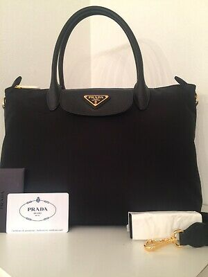 5938332e2191 Prada Tessuto Nylon and Saffiano Leather Bag Purse Tote - Authentic and New