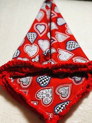 Red Newborn Baby Swaddle Blanket - Cotton Stretch Knit -  Hearts