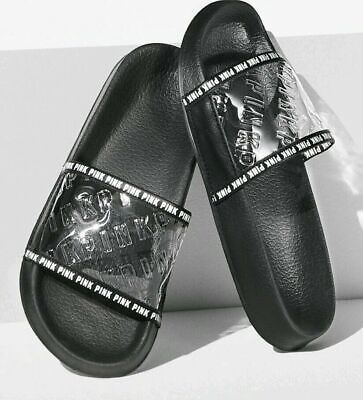 New Victoria's Secret PINK Limited Edition Clear Embossed Logo Slide Campus Gym