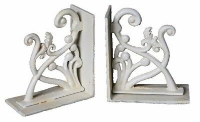 Victorian Bookends Cast Iron Antique White 1 Pair Book Ends Tabletop Home Gift