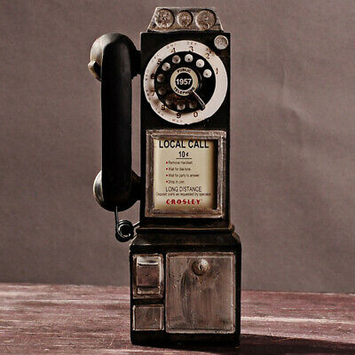 Rotary Dial Pay Phone Statue Vintage Telephone Booth Old Corded phone Figurine