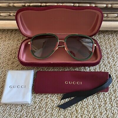 9721239d70 New Authentic Gucci Gg0062S 003 Gold Red Green Aviator Sunglasses 57Mm  420