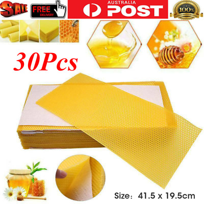 30X Bee Honey Sheets Beehive Wax Foundation Beekeeping Equipment Bee Comb Frame