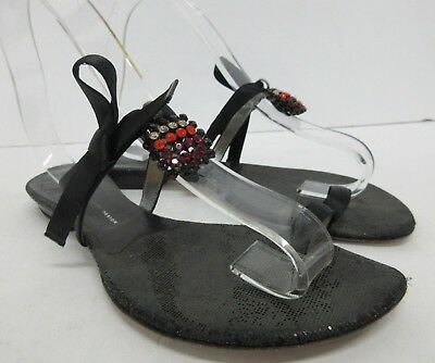 3ea219777fe6 ... sandals 39 1 2 brown leather w toe ring bling.