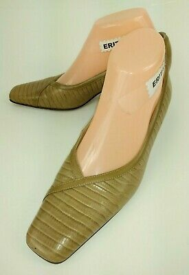3cb770c2132 Talbots Womens Shoes Heels US 7 M Tan Leather Snake Print square Toe Italy  5414