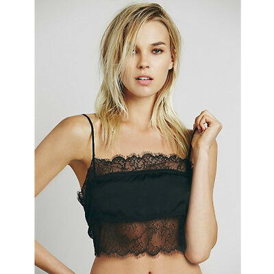 FREE PEOPLE Intimates Black Love Me Always Stupid Cute Lace Cami Brami