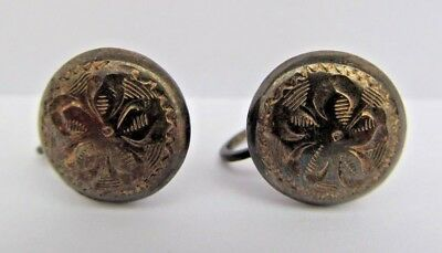 Sterling Silver Earrings Etched Floral Screwback Round Signed RAINBOW ST'G Vtg