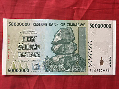 Zimbabwe 50 Million Dollar Very Rare Unc Banknote  Real Note Aa Series