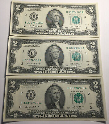 Lot of 3 -- United States 2013 Two Dollar Notes - Consecutive Serial Numbers