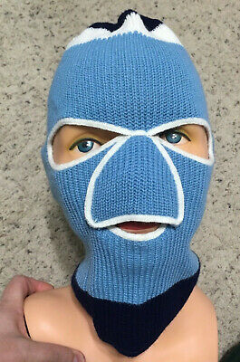 a7d1ebde07f Vintage 80s Ski Mask Knit Hat Robber 3 Hole Blue Snow Mobile Nose Patch  Bandit