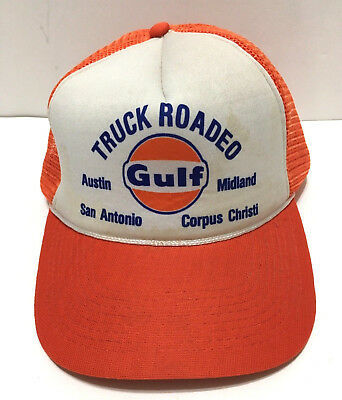 7856a5ecbbd Vintage 80s Snapback Trucker Hat Cap Truck Rodeo Gulf Oil Gasoline Orange  Mesh