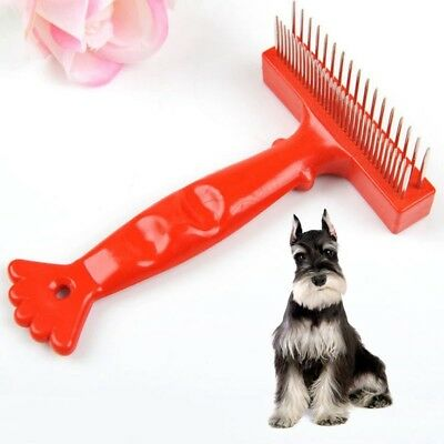 Pet Grooming Comb Double Row Dog Cat Fur Trimmer Shedding Flea Hair Brush Rake