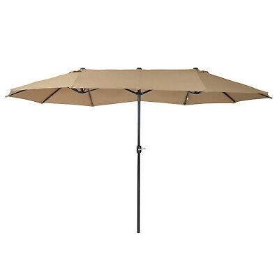 Outsunny 4.6M Sun Umbrella Canopy Double-sided Crank Sun Shade Shelter Brown