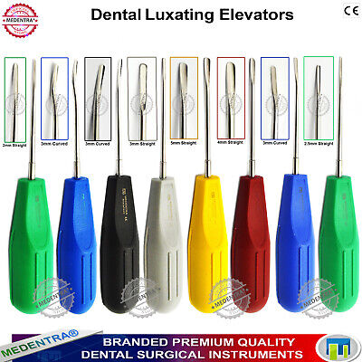 MEDENTRA® 8Pcs Luxating Root Elevators Multi Color Tooth Extraction Surgery Set