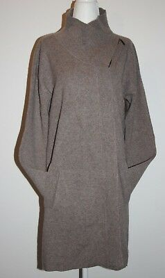 """Adrienne Vittadini Double Face 2-Ply Cashmere 35"""" Long Knit Cardigan Sweater  L"""