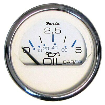 Faria 2 Oil Pressure Gauge 5 Bar Metric - Chesapeake White - Stainless Steel Bez
