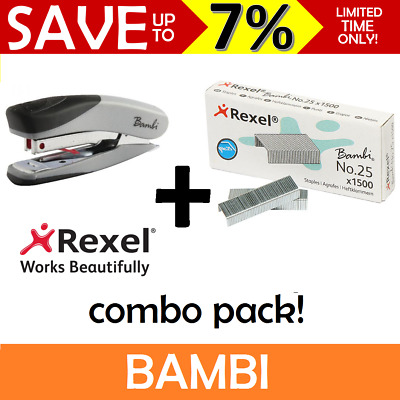 Rexel BAMBI Mini Stapler + No.25 Staple Refill COMBO R2100154 Cute Small Remover
