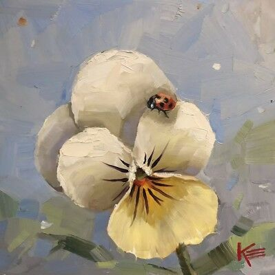 "Krista Eaton 'Lady Bug & pansy ' 8""x8"", Original Oil Painting On Canvas, Flowers"