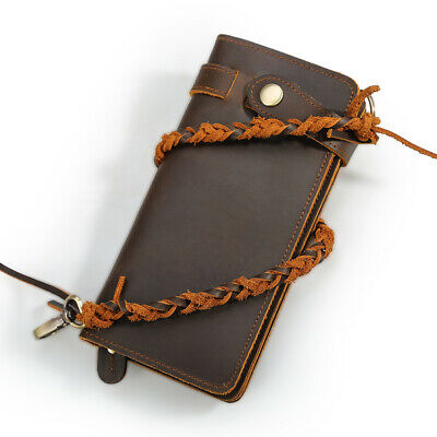 Real Leather Clutch Long Wallet For Men Chain Cowboy Purse Phone Card Holder